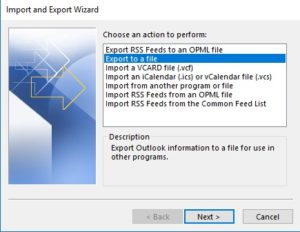 select export to a file.
