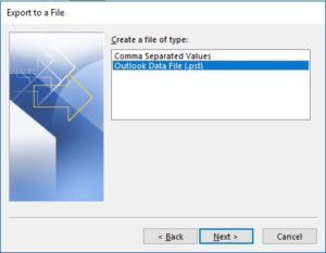 Select .pst Outlook data file and hit on the next button.