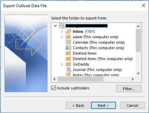 Selectfolder to export.