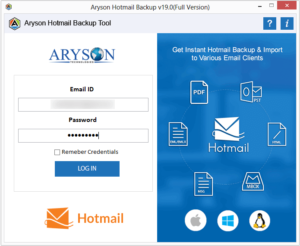 Launch the tool and login to your hotmail profile.