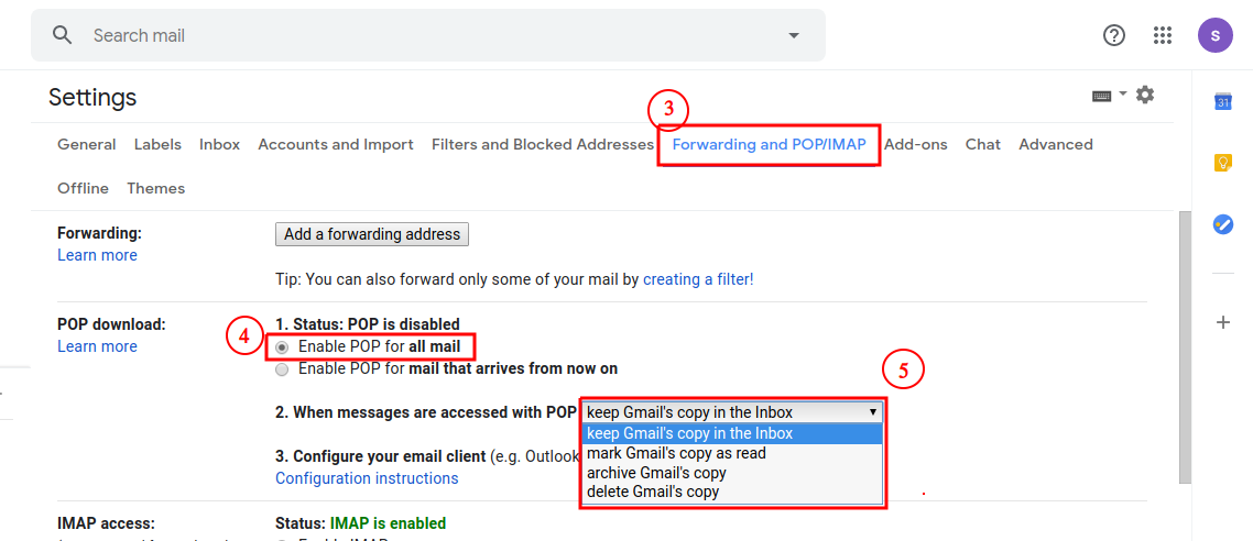 enable POP on Gmail Account