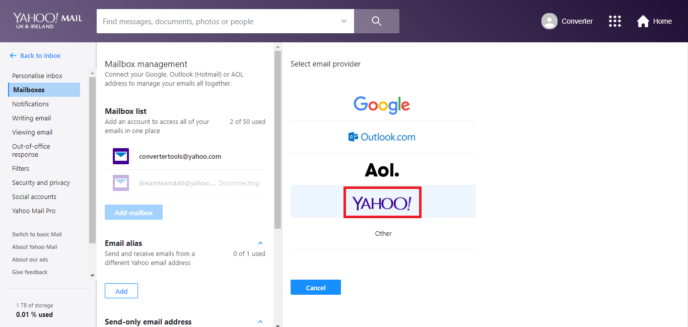 Now, select Yahoo for4 Yahoo to Yahoo conversion.