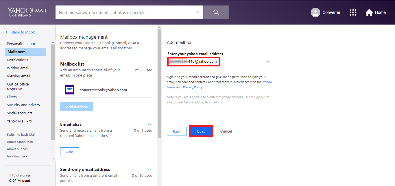 provide the yahoo email address to add.