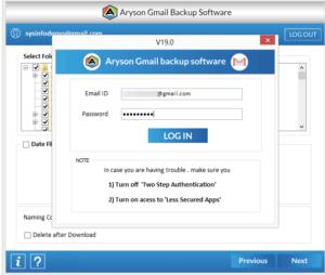 Enter the login credentials