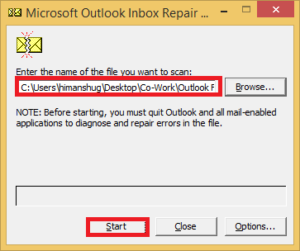 cannot start Microsoft outlook. the set of folders cannot be opened. the operation failed