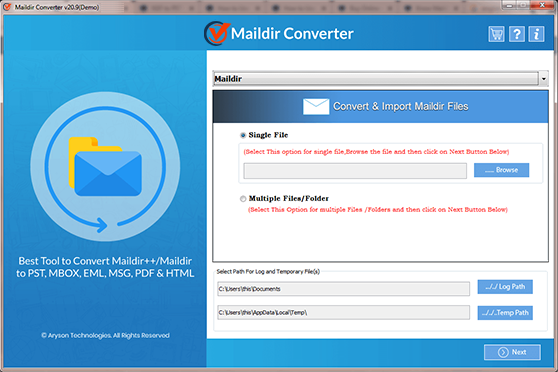 Maildir File Converter full screenshot