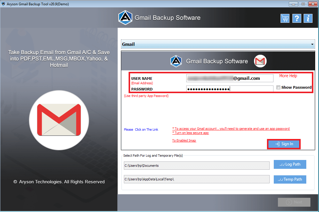 Run Gmail Converter Software.