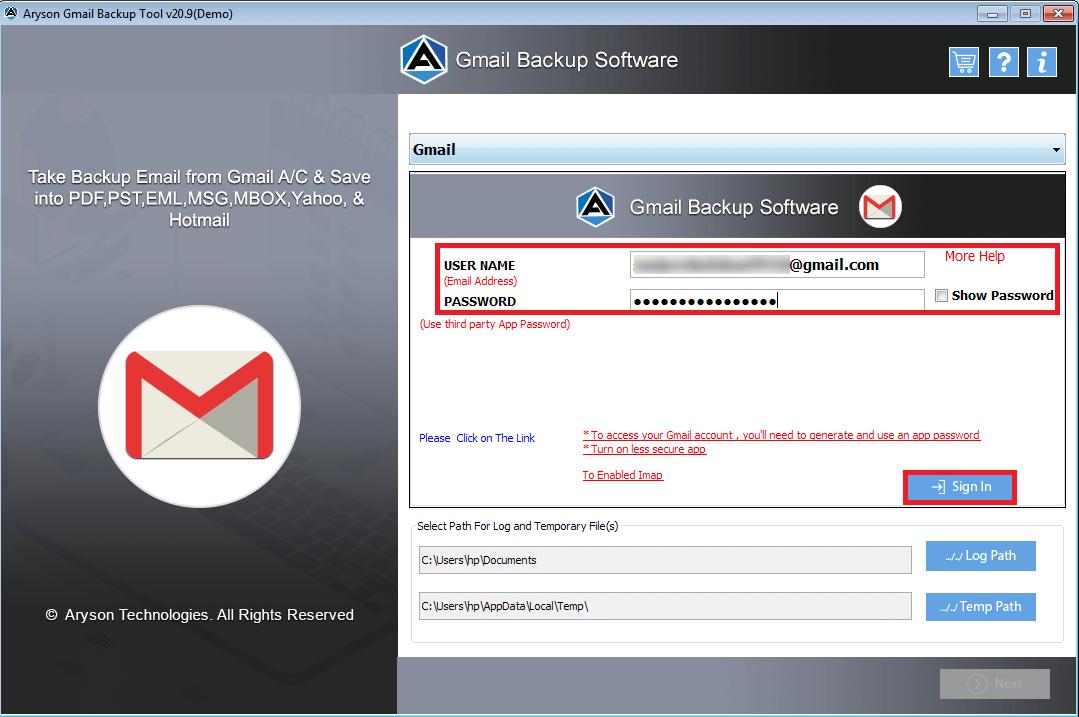 Gmail converter full screenshot