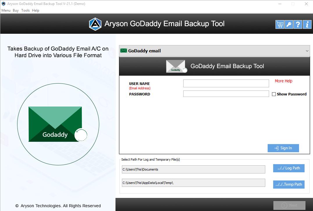 GoDaddy Mail Converter step-1