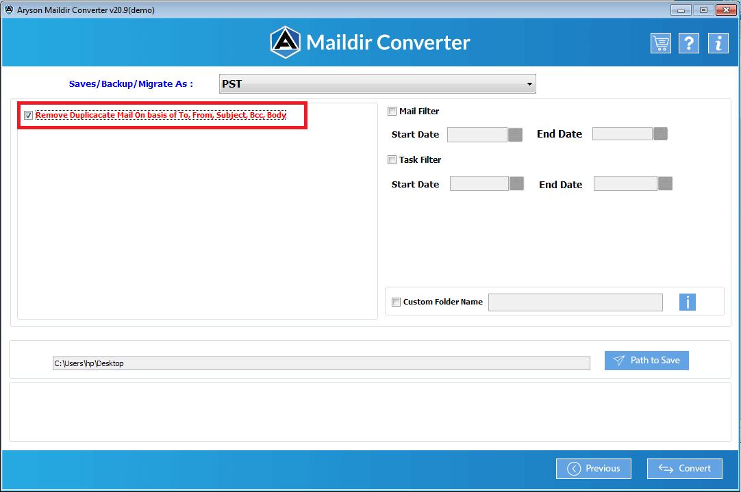 Maildir File Converter step-5