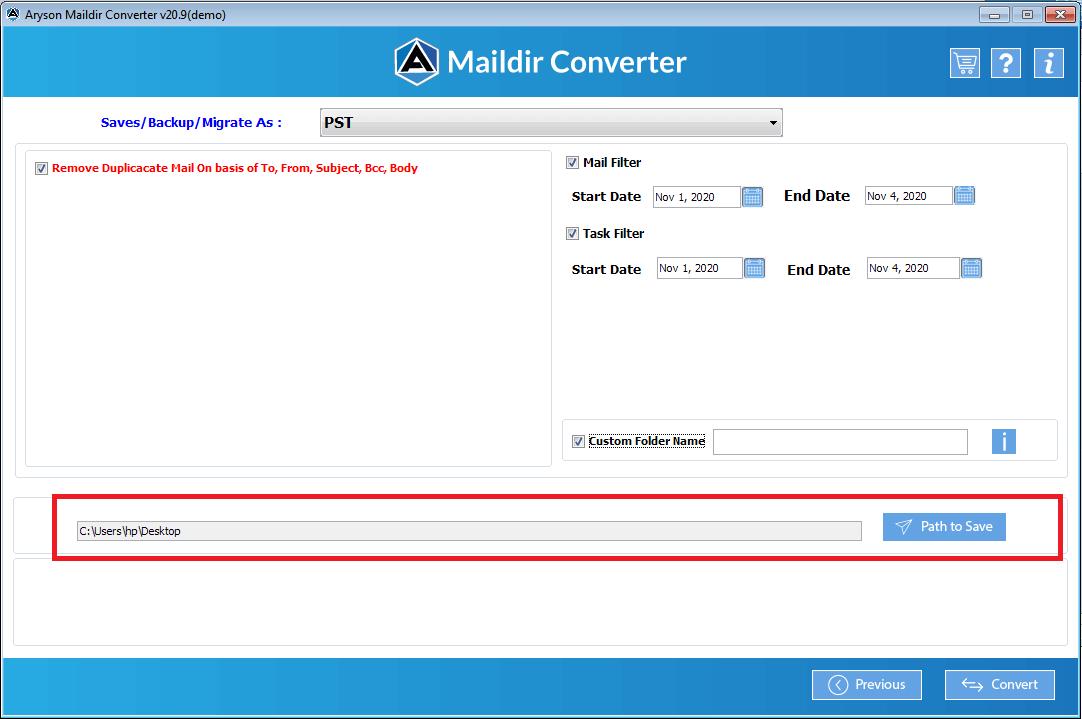 Maildir File Converter step-8