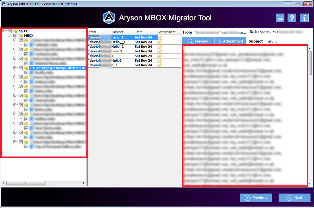 MBOX Migrator Tool to export or convert MBOX file into Outlook, EML