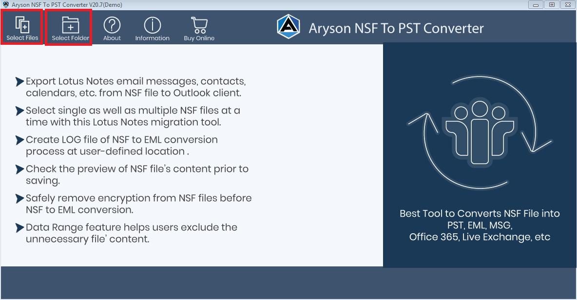 NSF to MBOX Converter full screenshot