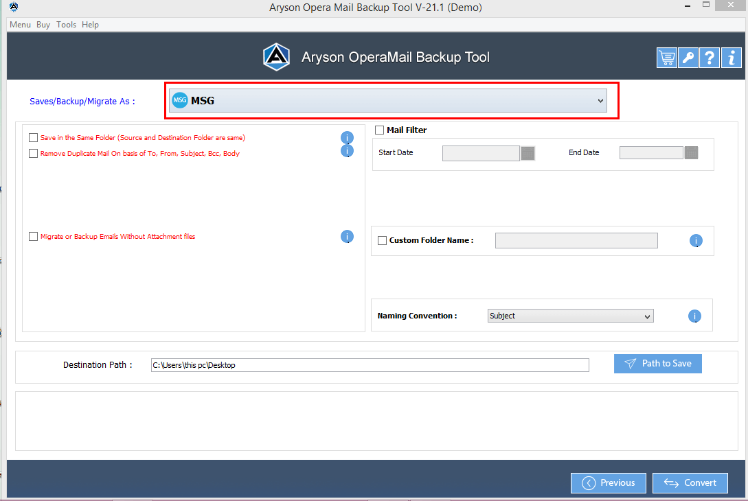 Opera Mail Converter step-2