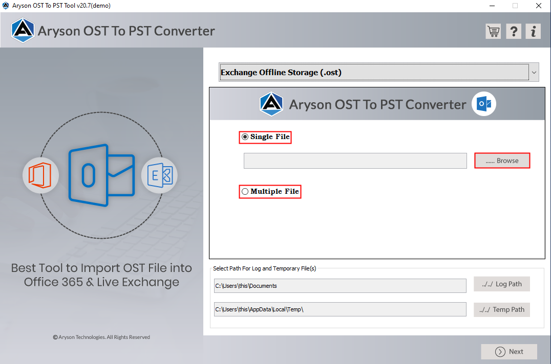 OST to PST Converter full screenshot