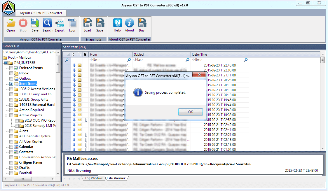 Successfully export all emails from OST file to PST file