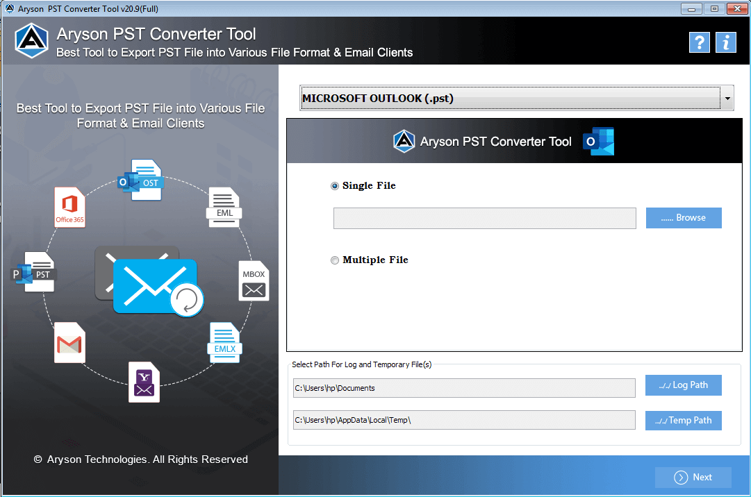 Outlook PST Converter full screenshot