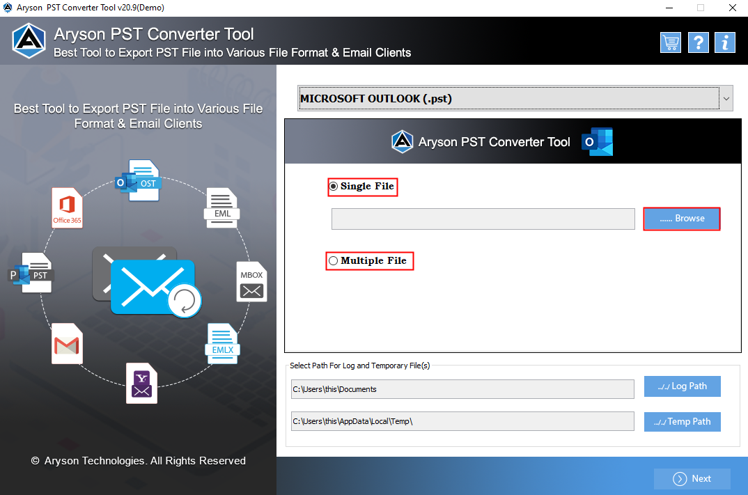 Mac PST to MBOX converter full screenshot