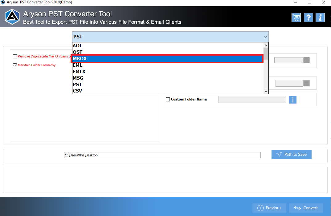 convert pst to mbox free
