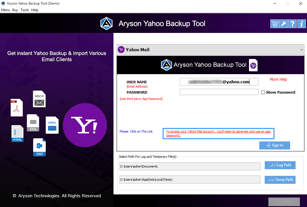 Yahoo Mail Converter step-2